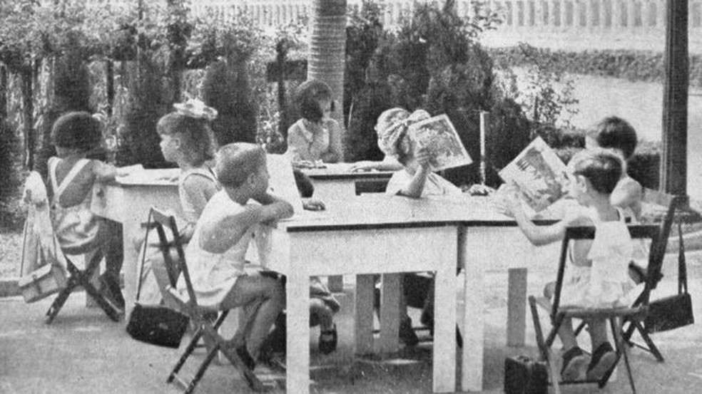 Experiências de ensino ao ar livre na Europa a partir de 1904 inspiraram Escola de Aplicação ao Ar Livre (EAAL), que funcionou no Parque da Água Branca, zona oeste de São Paulo, entre 1939 e os anos 1950 — Foto: Revista Brasileira de Educação Física/Reprodução
