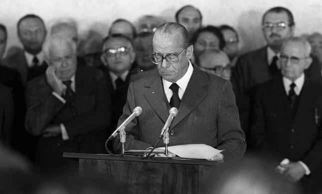 O general João Figueiredo em 1979, ano em que se tornou presidente