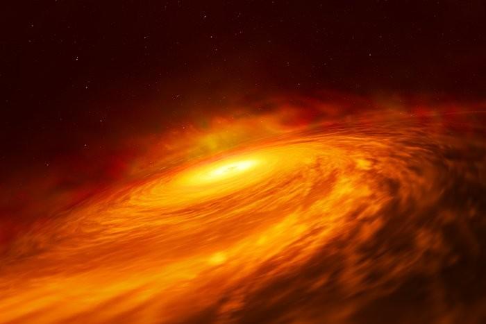 Ilustração do disco do buraco negro da galáxia NGC3147 (Foto: ESA/Hubble, M. Kornmesser)
