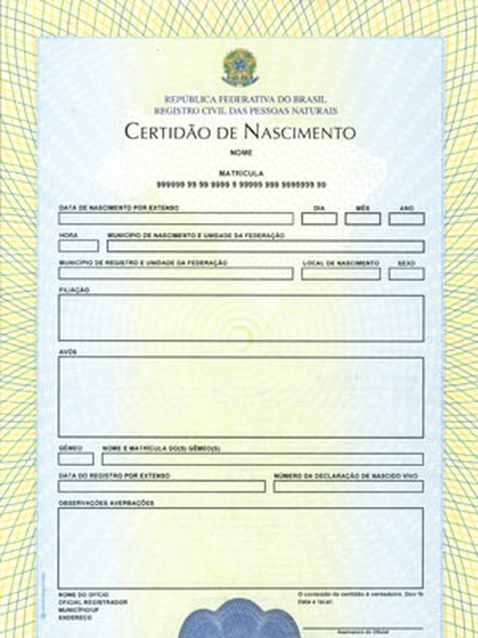 Modelo atual de certidão de nascimento, em imagem de divulgação (Foto: Divulgação/Ministério da Justiça)