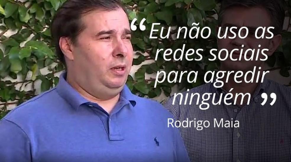 Selo Rodrigo Maia responde a Jair Bolsonaro — Foto: Montagem/G1