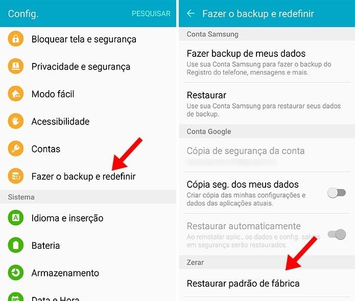 Acesse as configurações de restauração do seu Android (Foto: Reprodução/Paulo Alves)