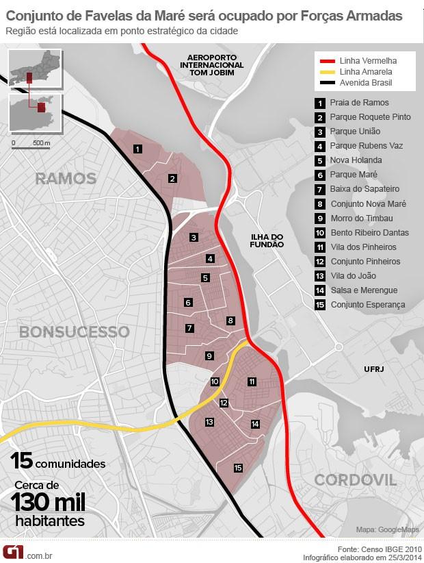 Mapa do Conjunto de Favelas da Maré (Foto: Editoria de Arte/G1)