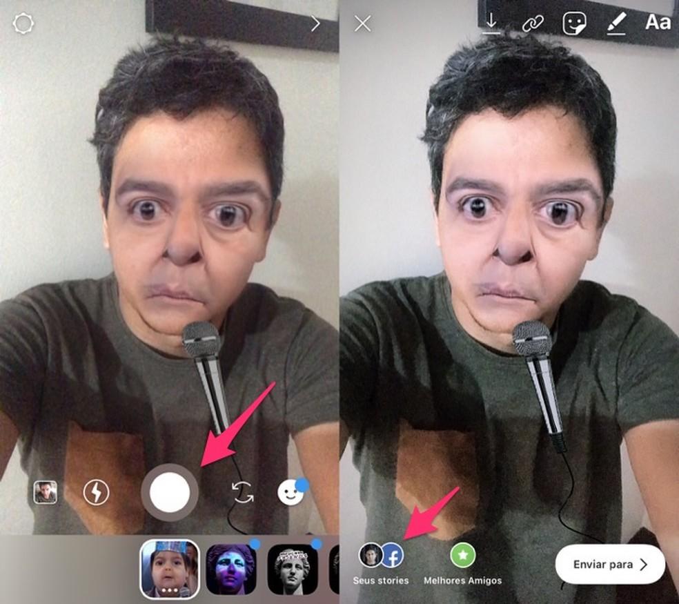 Ação para criar um storie usando o filtro Oloquinho Meu que transforma você no apresentador Fausto Silva — Foto: Reprodução/Marvin Costa