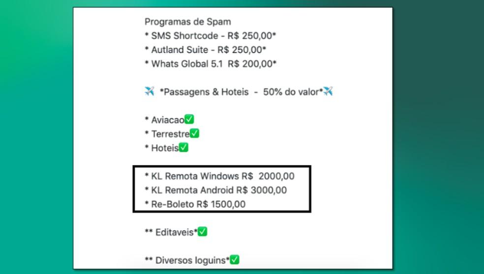 Anúncio na Internet oferece malware BRata por R$ 3 mil reais — Foto: Divulgação/Kaspersky
