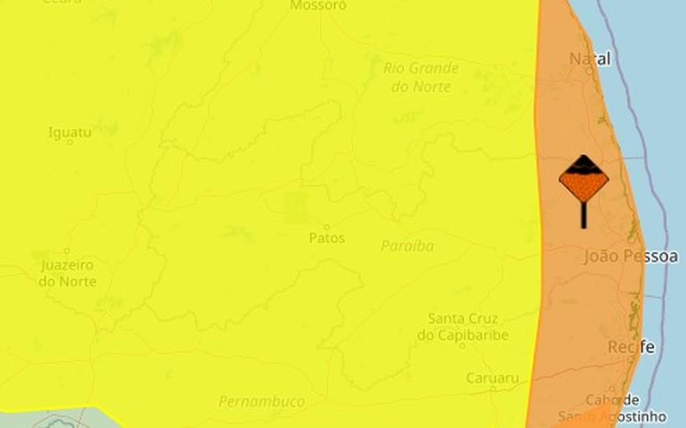 Inmet emite alertas de acumulado e de chuvas intensas para todos os municípios da PB — Foto: Reprodução/Inmet