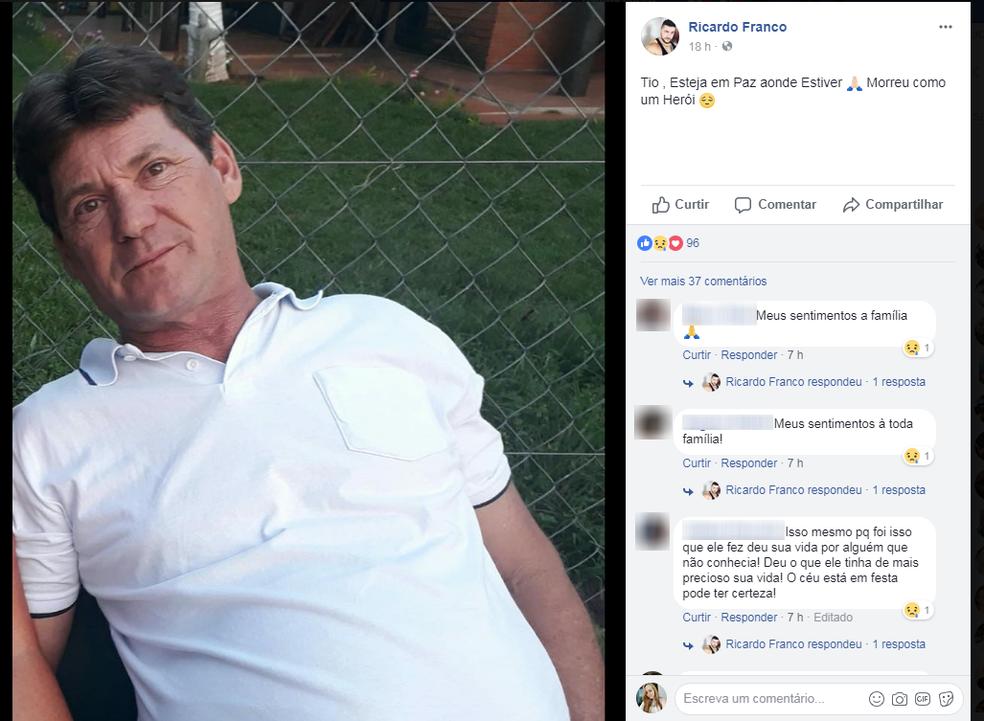 Sobrinho fez postagem em homenagem ao tio nas redes sociais (Foto: Reprodução/Facebook)
