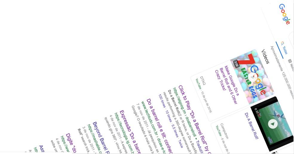 """Brincadeira """"Do a barrel roll"""" gira página de resultados do Google em 360º — Foto: Reprodução/Google"""