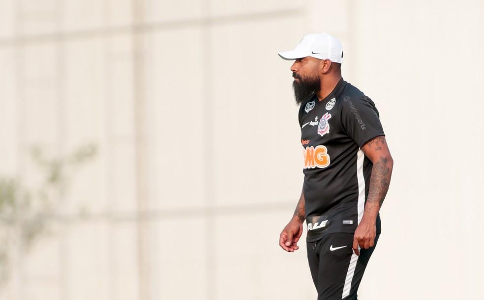 Dyego Coelho em treino do Corinthians no CT Joaquim Grava — Foto: Rodrigo Coca/Ag.Corinthians