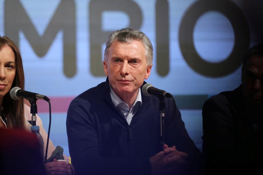Mauricio Macri reconheceu resultado ruim em prévia da corrida presidencial neste domingo (11) — Foto: Luisa Gonzalez/Reuters