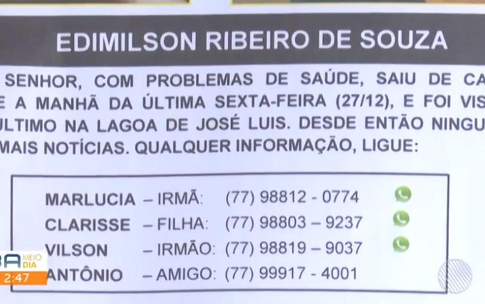 Família divulga cartaz com números de contato para pistas de seu Edmilson — Foto: Reprodução/TV Sudoeste