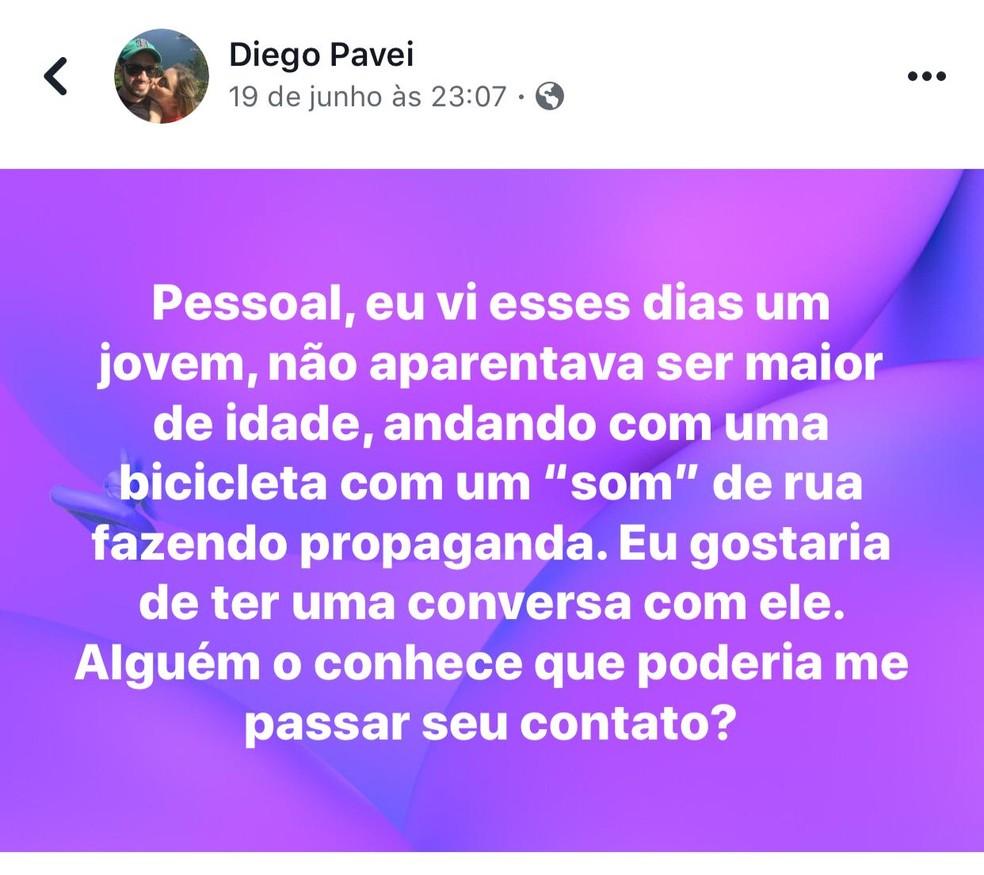 Postagem de Diego procurando por Rogério que anunciava propagandas de empresas. — Foto: Facebook/Reprodução