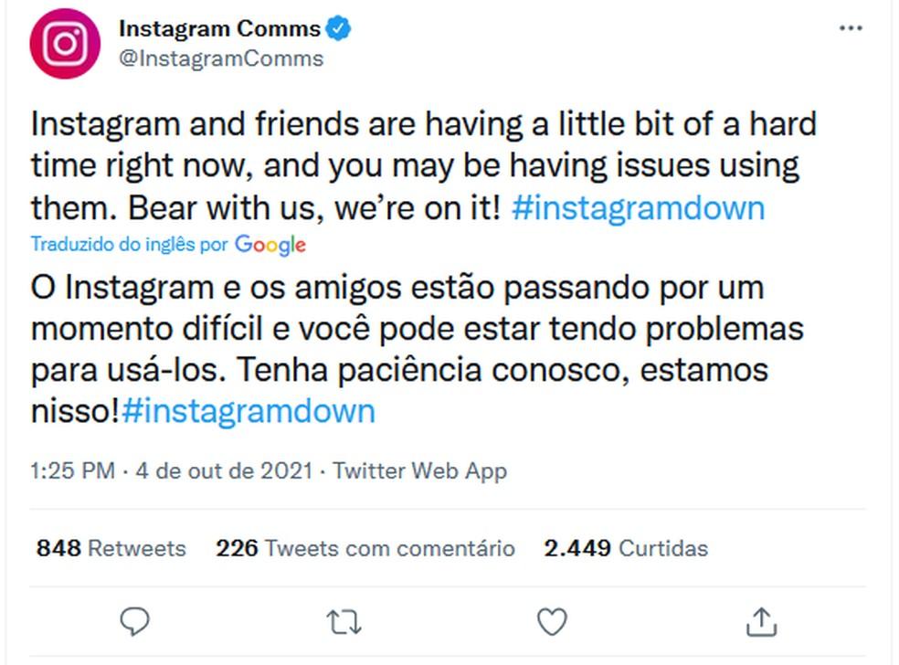 Perfil oficial do Instagram no Twitter está trabalhando para estabilizar serviço — Foto: Eduardo Bartkevihi/TechTudo