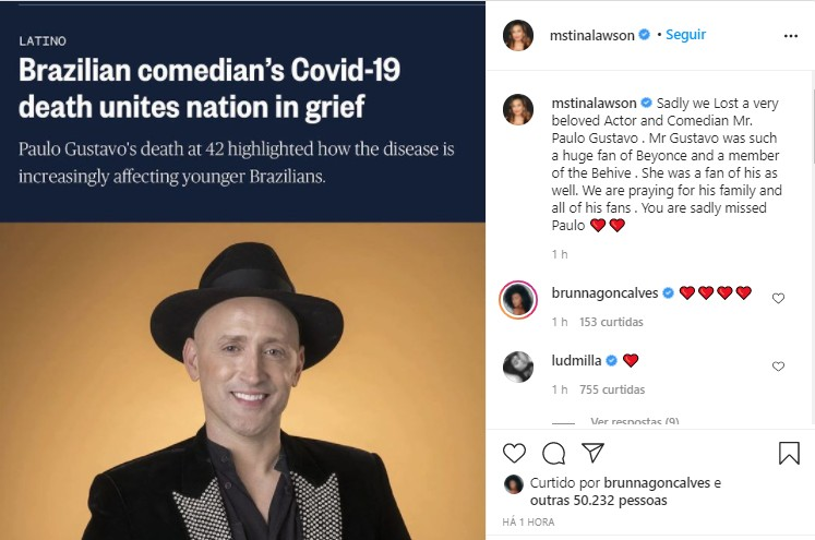 Mãe de Beyoncé lamenta morte de Paulo Gustavo (Foto: Reprodução/Instagram)