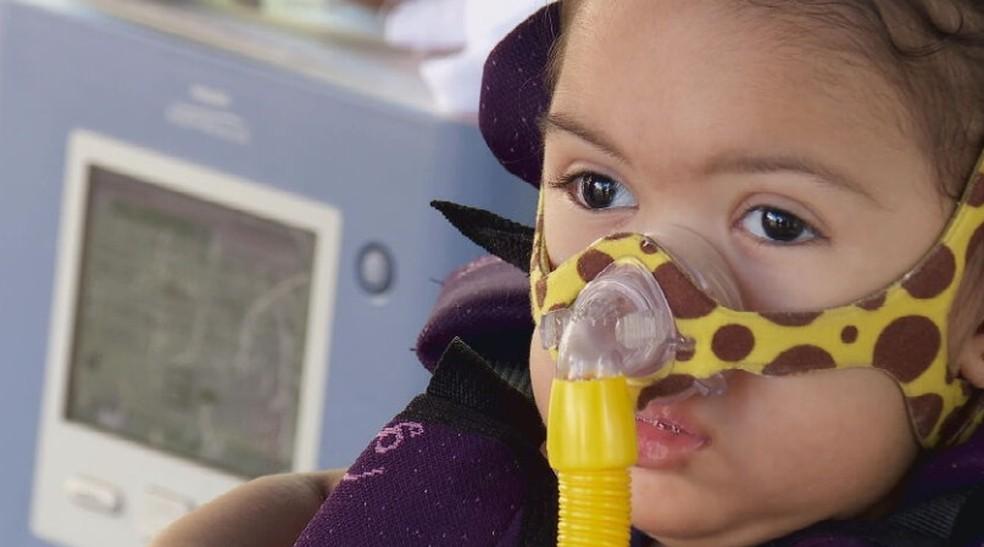 Marina Ciminelli, de um ano de nove meses, foi diagnosticada com AME, doença degenerativa rara — Foto: TV Globo/Reprodução
