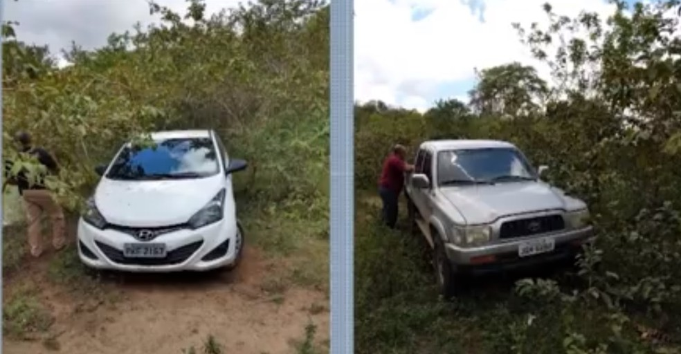 Carros usados em assalto a agência dos Correios e sequestro de casal são apreendidos na Bahia — Foto: Reprodução/TV Santa Cruz