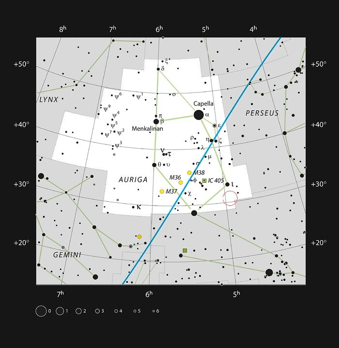 This chart shows the location of the AB Aurigae system. This map shows most of the stars visible to the unaided eye under good conditions and the system itself is marked with a red circle.  (Foto: ESO, IAU and Sky & Telescope)
