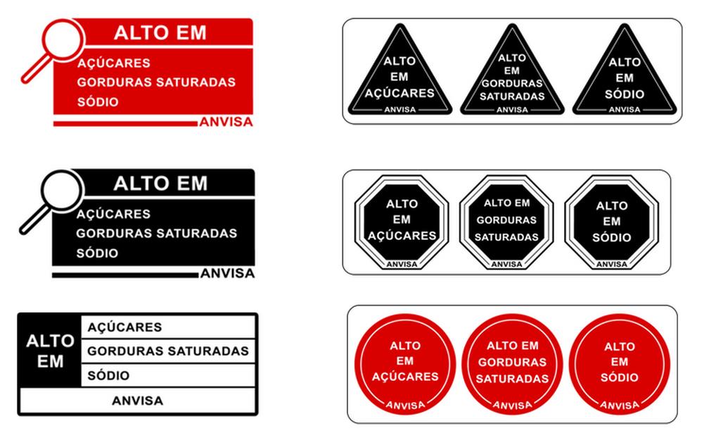 Modelo de rótulos que estão sendo propostos pela Anvisa. Alerta frontal vai complementar tabela nutricional (Foto: ANVISA/Divulgação)