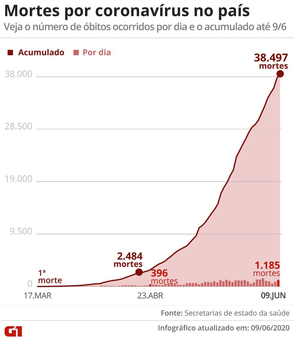 Mortes por coronavírus no acumulado e por dia no Brasil até 9 de junho — Foto: Editoria de Arte/G1