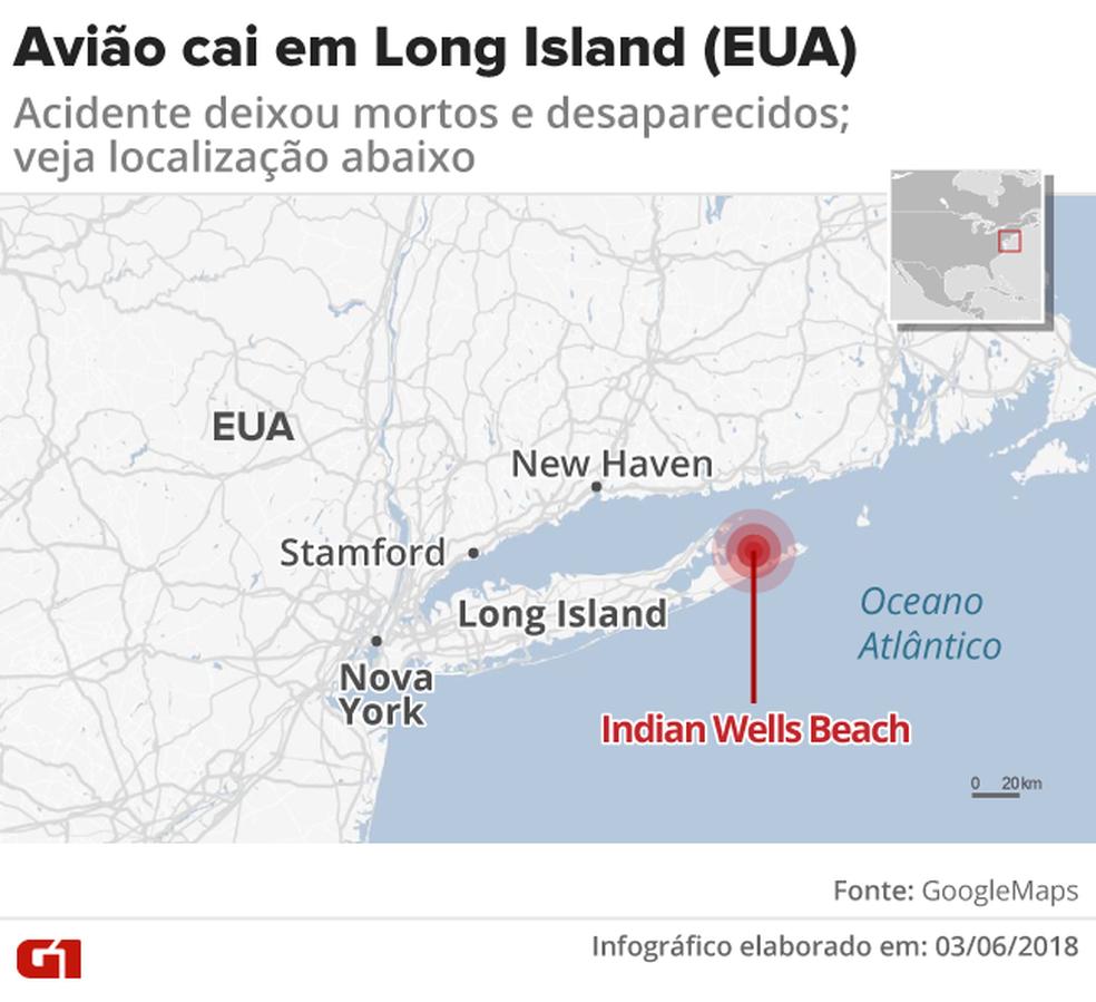 Mapa - queda de avião em Long Island (Foto: Rodrigo Cunha/G1)