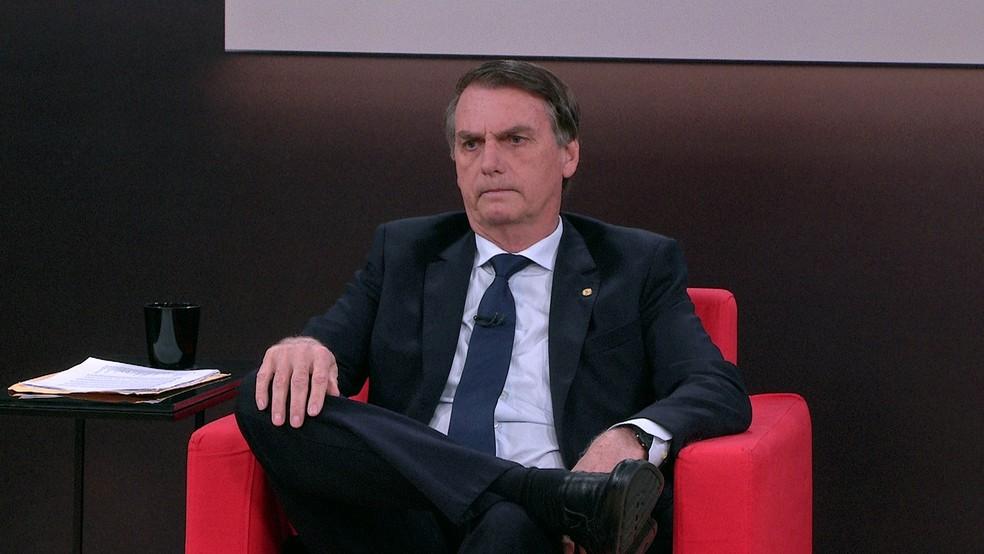 O candidato do PSL à Presidência, Jair Bolsonaro, durante entrevista à GloboNews (Foto: Reprodução/GloboNews)
