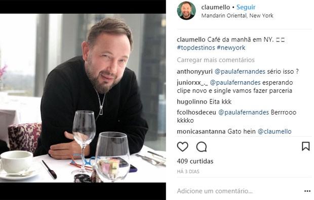 Claudio Mello no hotel em NY (Foto: Reprodução)