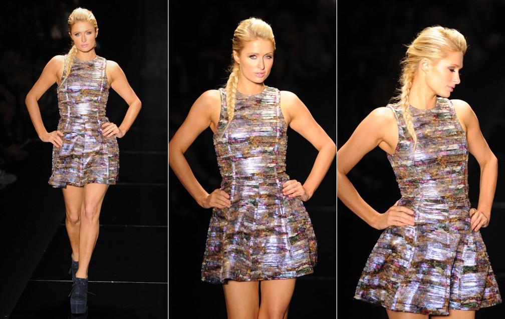 A socialite Paris Hilton desfila no São Paulo Fashion Week em 2011 — Foto: Raul Zito/G1