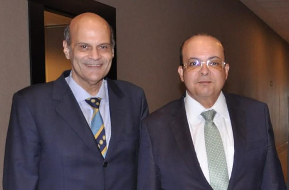 Governador eleito do DF, Ibaneis Rocha e o vice-governador Paco Britto se encontraram com o deputado Sarney Filho neste terça (13) — Foto: G1 DF