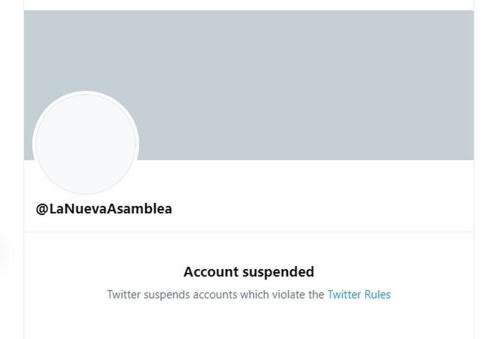 Twitter suspende conta @LaNuevaAsamblea, ligada ao parlamento venezuelano — Foto: Reprodução/Twitter