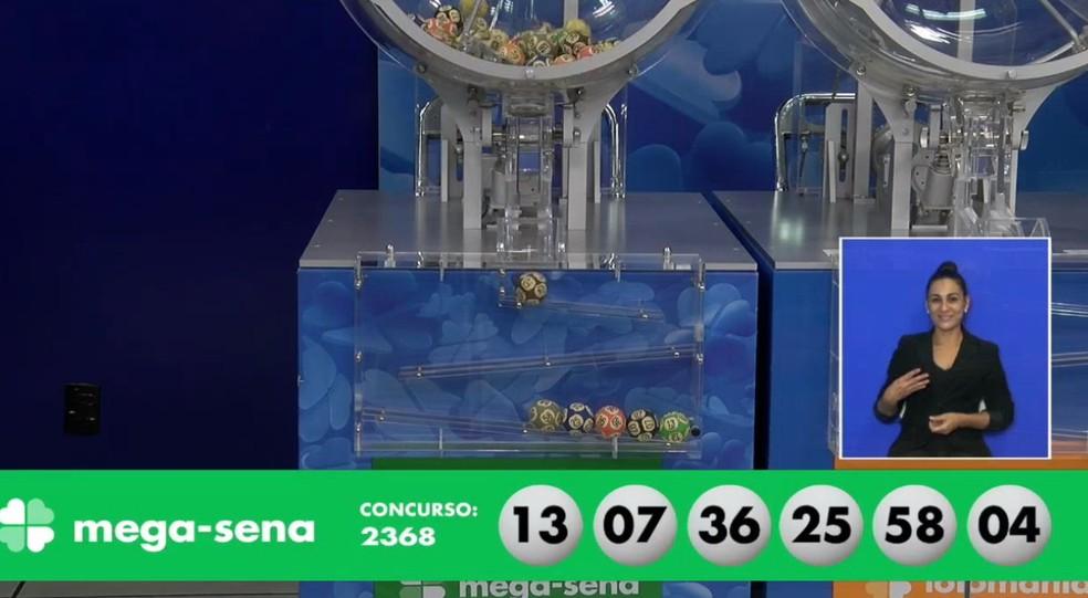Números do concurso 2368 da Mega-Sena — Foto: Reprodução/Caixa