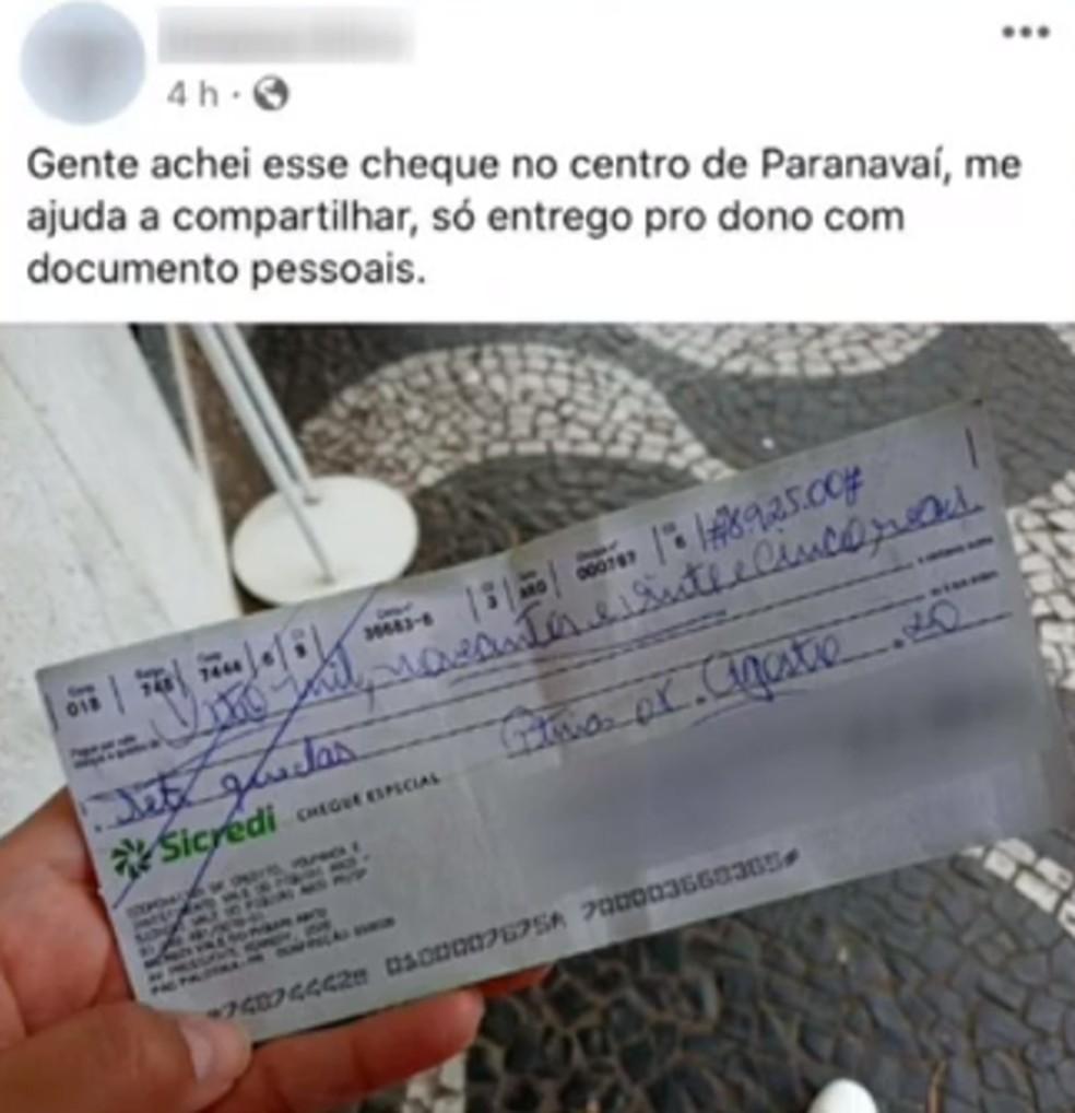 Moradora de Paranavaí encontra cheque de quase R$ 9 mil e devolve ao dono — Foto: Reprodução/RPC