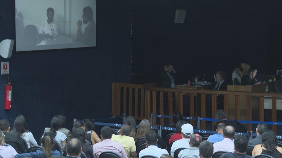 8º dia de julgamento de Adriana Villela foi marcado por exibições de depoimentos gravados apresentados pela defesa e acusação. — Foto: TV Globo/Reprodução