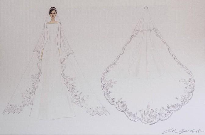 Esquete do vestido de noiva de Meghan Markle (Foto: reprodução/Instagram)