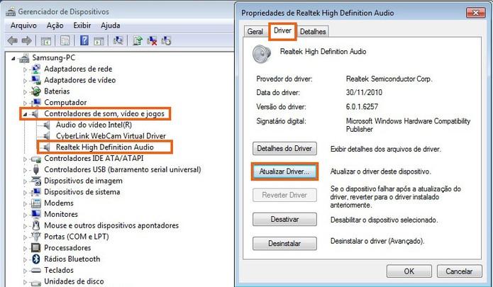 Selecione o botão para atualizar o driver do Realtek no Windows 7 (Foto: Reprodução/Barbara Mannara)