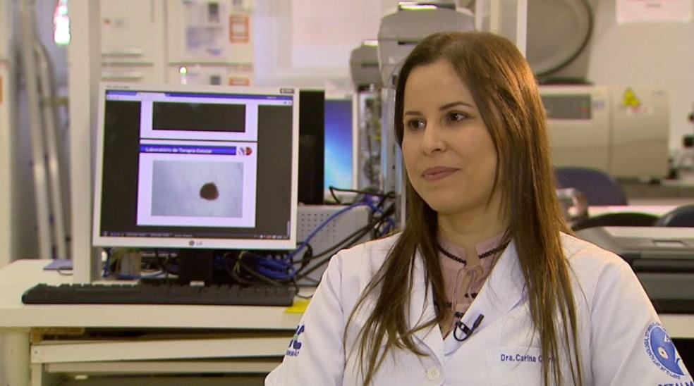 A pesquisadora do HC-USP, Carina Costa Cotrim, em Ribeirão Preto, SP (Foto: Carlos Trinca/EPTV)