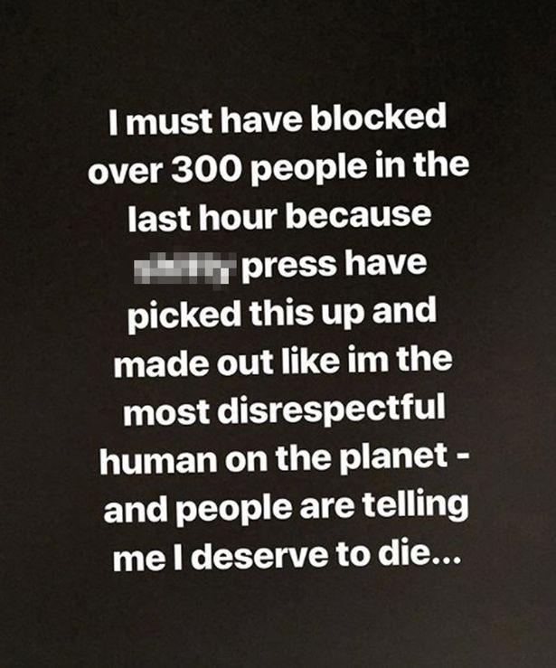 O comunicado no qual a atriz e modelo Rhian Sugden revelou ter sido ameaçada de morte (Foto: Instagram)