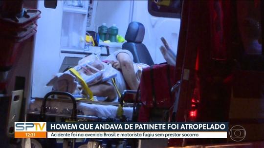 Vídeo mostra acidente com patinete na Avenida Brasil em SP