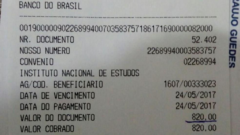 Candidato pagou 10 vezes mais por inscrição do Enem, na Paraíba (Foto: Lenilson Guedes/Arquivo Pessoal)