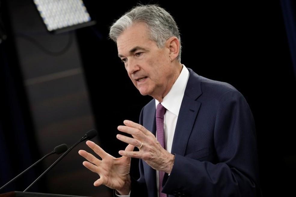 Jerome Powell, do Federal Reserve, durante coletiva de imprensa em Washington — Foto:  REUTERS/Yuri Gripas