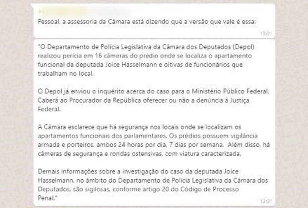 Nota da Assessoria de Comunicação da Câmara dos Deputados, excluindo as informações divulgadas pela Secom da Presidência da Câmara — Foto: Reprodução