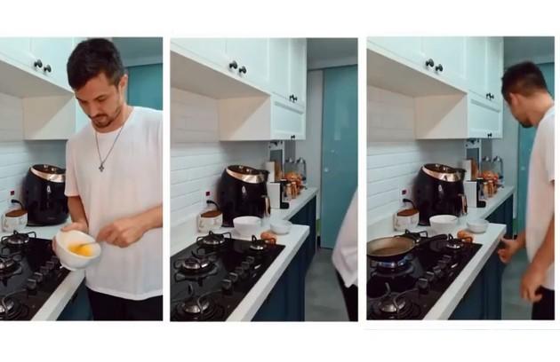 Na quarentena, um dos cantinhos preferidos do artista foi a cozinha (Foto: Reprodução)