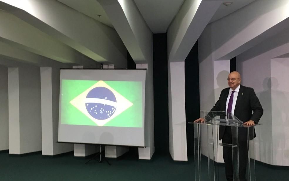 Ministro da Cidadania disse em reunião que Goiás servirá de piloto para ações sociais. — Foto: Foto: Guilherme Henrique/ TV Anhanguera