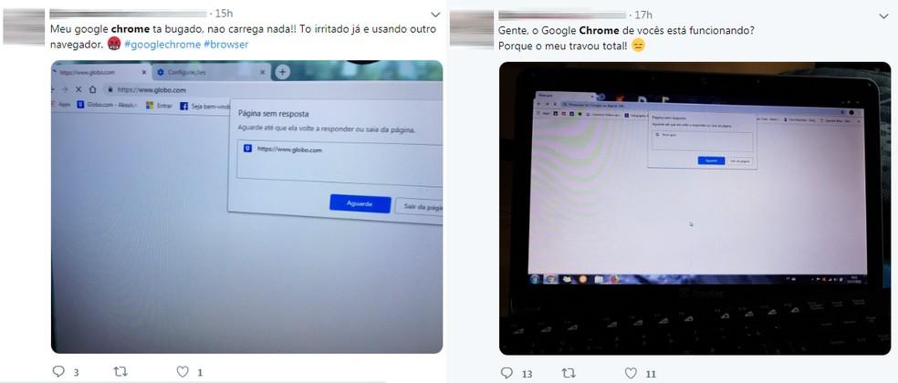 Usuários reclamam no Twitter de problemas ao abrirem o Chrome — Foto: Reprodução/TechTudo
