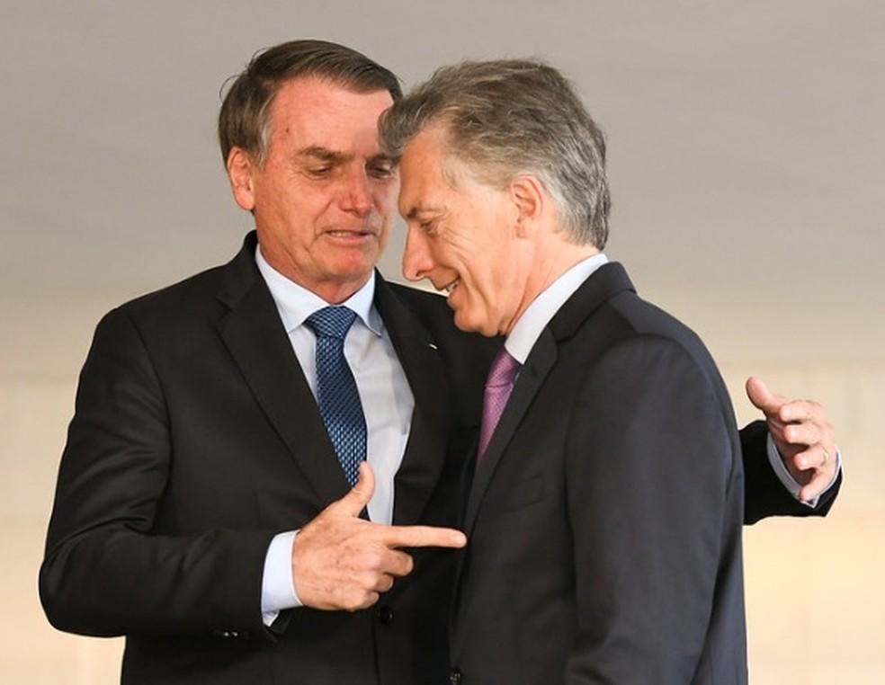 Presidentes Jair Bolsonaro e Mauricio Macri, em Brasília, durante encontro em janeiro deste ano — Foto: Arthur Max/AIG-MRE