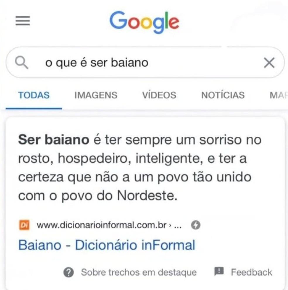 Definição de baiano é trocada após polêmica xenofóbica na internet  — Foto: Reprodução/Google