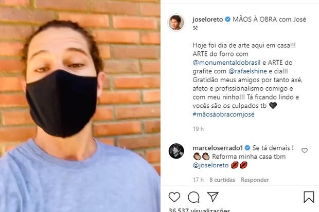 """José Loreto sua a camisa em reforma e Marcelo Serrado elogia: """"Tá demais"""" (Foto: Reprodução/Instagram @joseloreto)"""