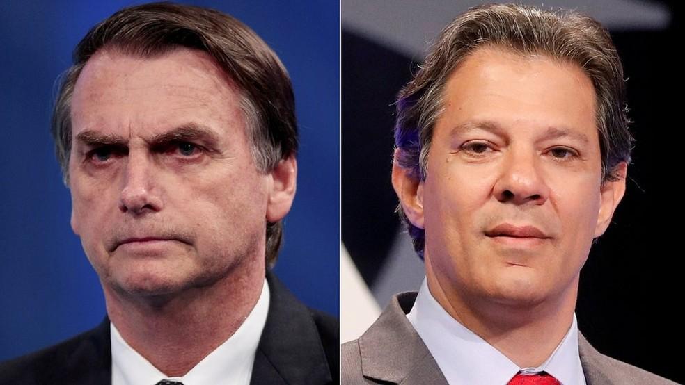 Os candidatos Jair Bolsonaro (PSL) e Fernando Haddad (PT) disputam o 2º turno presidencial — Foto: Reuters