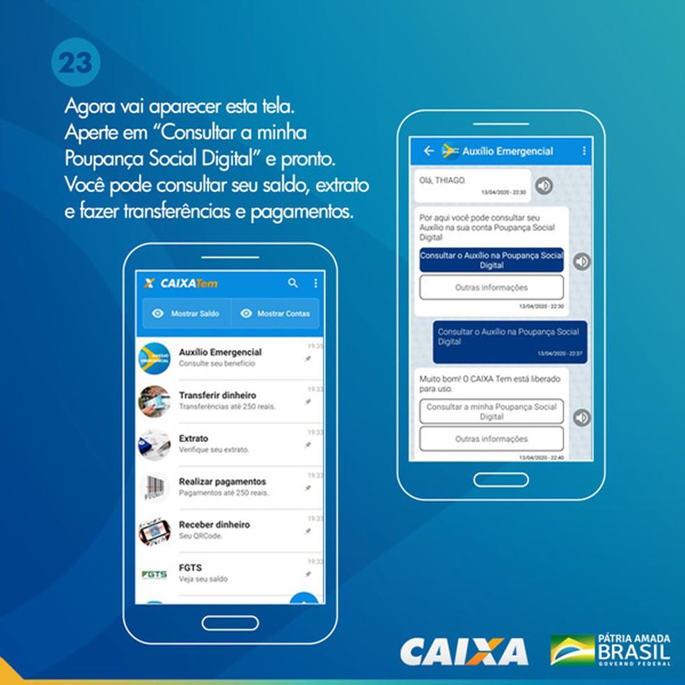Tela 23 para pedir abertura da poupança social digital — Foto: Divulgação Caixa
