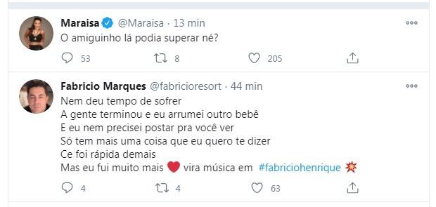 Maraisa e Fabricio Marques trocam indiretas (Foto: Reprodução/ITwitter)