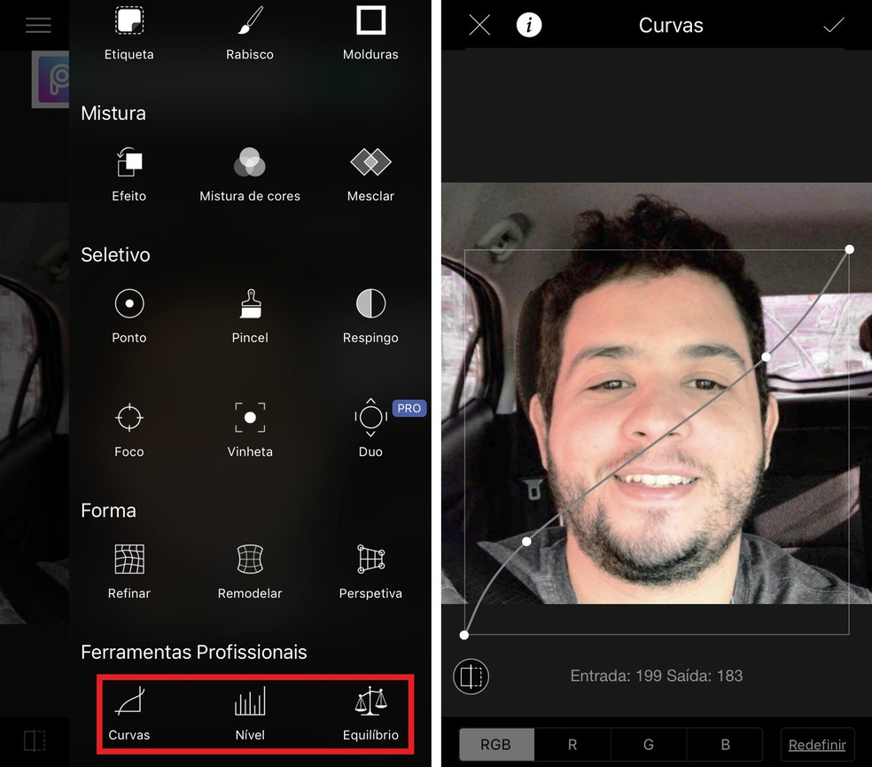 LightX possibilita ajustar a iluminação das fotos de maneira nativa — Foto: Reprodução/Rodrigo Fernandes